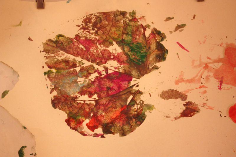 Leaf print painting 025