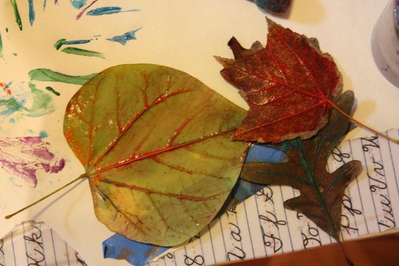 Leaf print painting 018