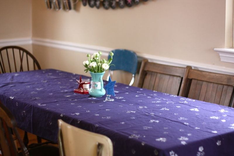 Star stamped table cloth