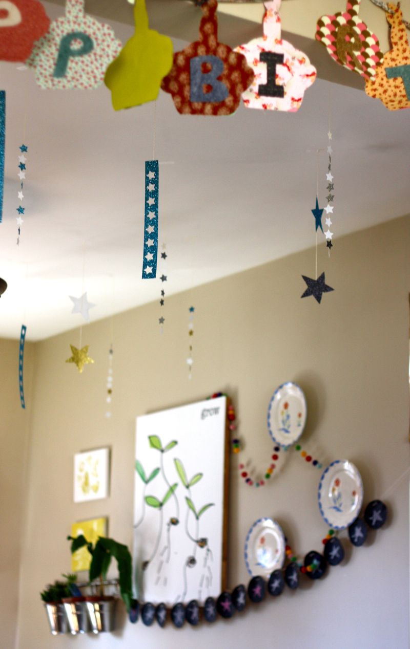 Hanging stars and banners