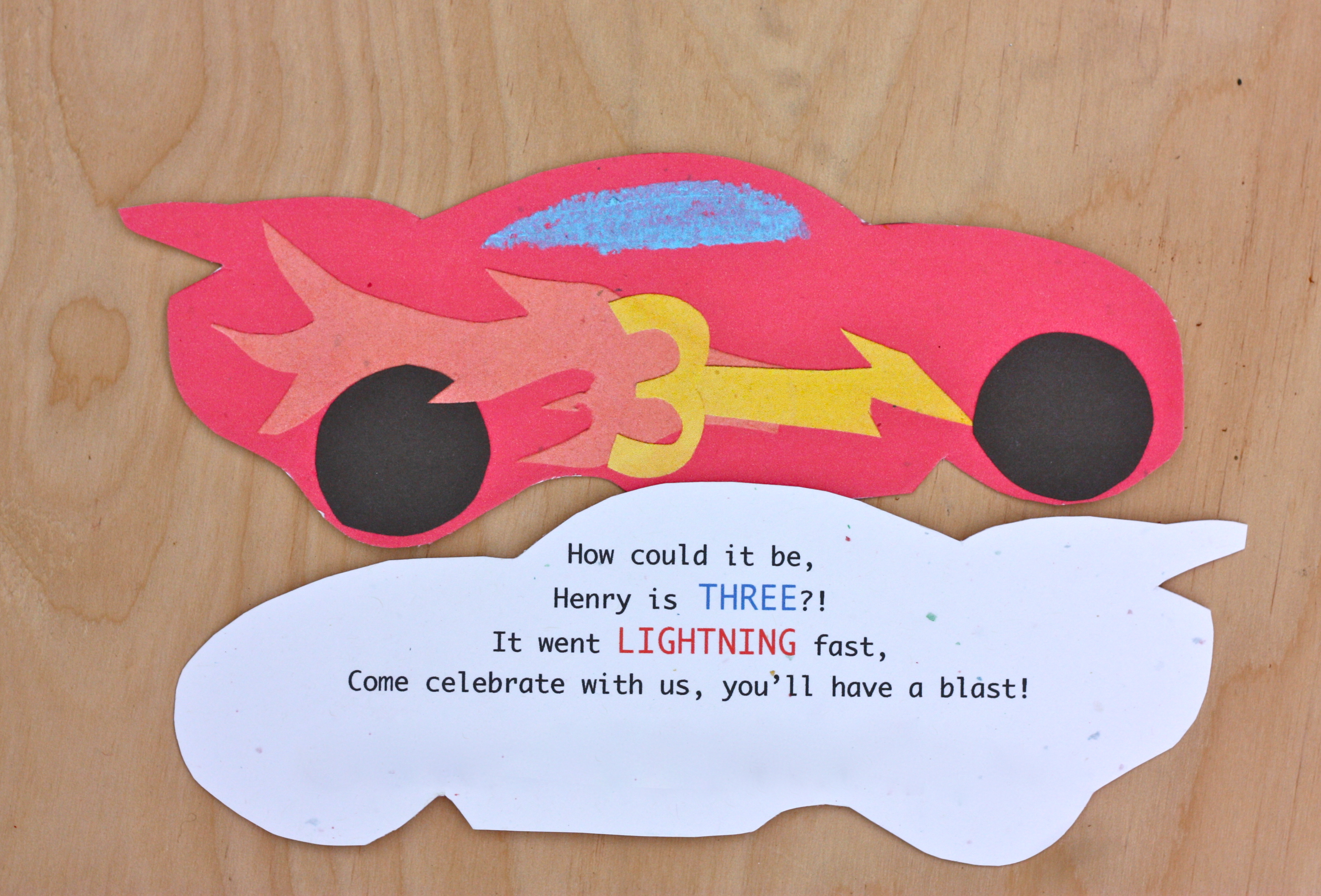 a lightning mcqueen ish party buzzmills i made the invitation by cutting out scraps of paper to make a collage car and then photo copied it to make many