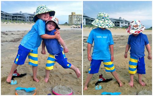 Board shorts and bucket hats