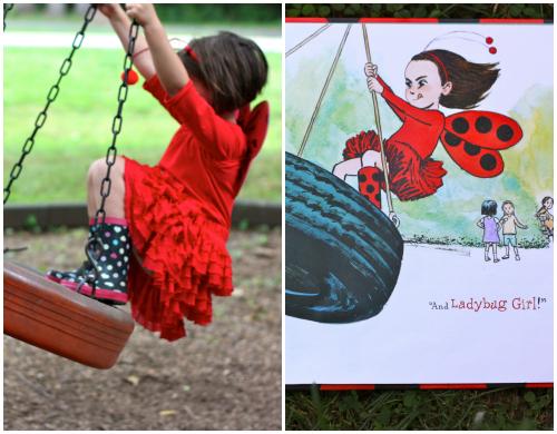 Ladybug girl and tire swing