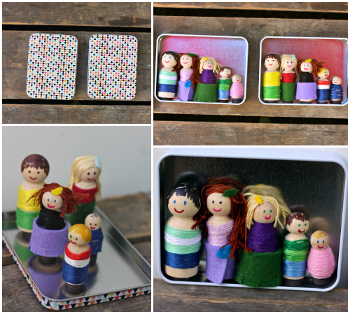 Peg dolls in box collage