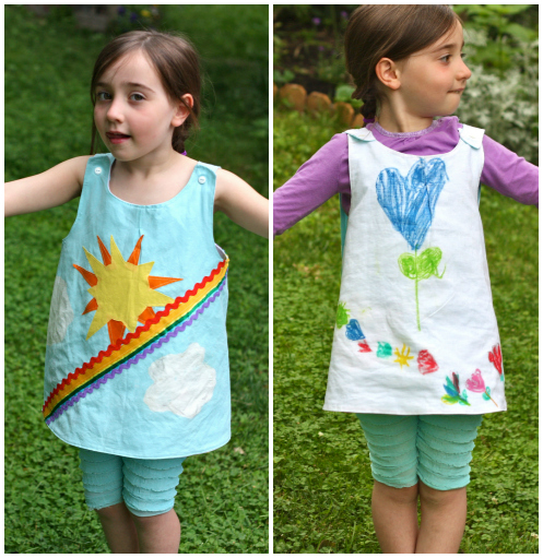 Roly-poly pinafore rainbow and flowers, buzzmills