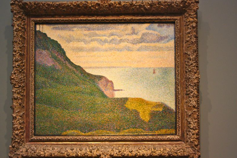 Pointillism, Georges Seurat seascape at port en bessin normandy