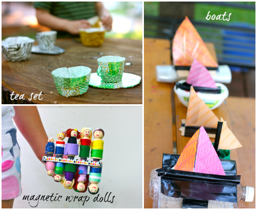 Tea set, boats, and pet dolls