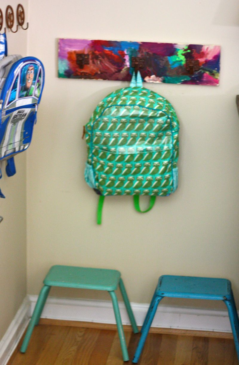 Toddler art coat rack and back to school organizing for Things to hang on front door