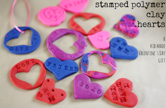 Stamped polymer clay hearts
