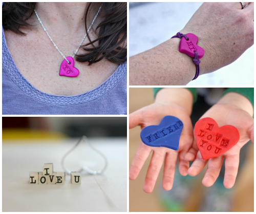 Stamped hearts made