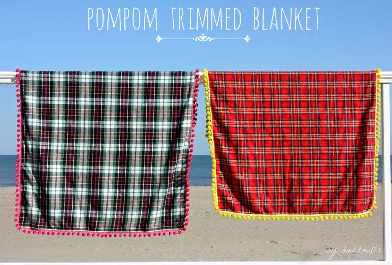 Pompom trimmed blanket
