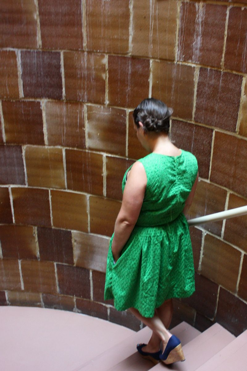 Back of green caroline dress