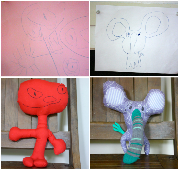 Drawing and stuffie Collage