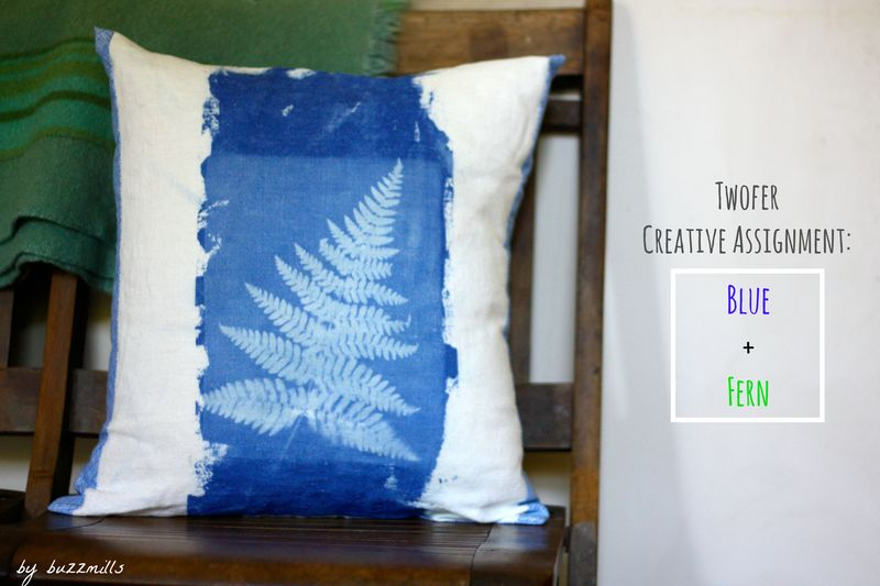 Blue fern pillow