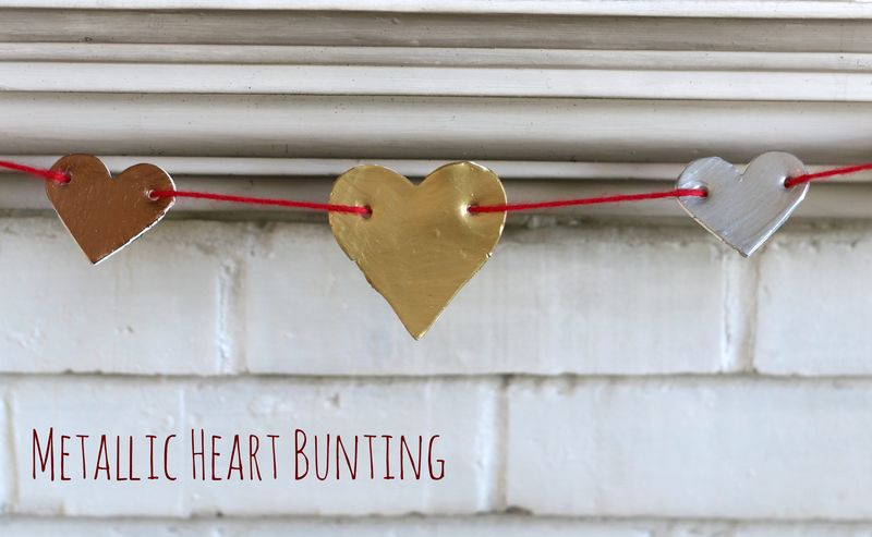 Metallic heart bunting