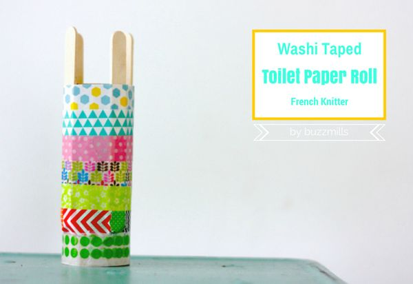 French Knitting Tutorial : Washi taped toilet paper roll and a french knitting
