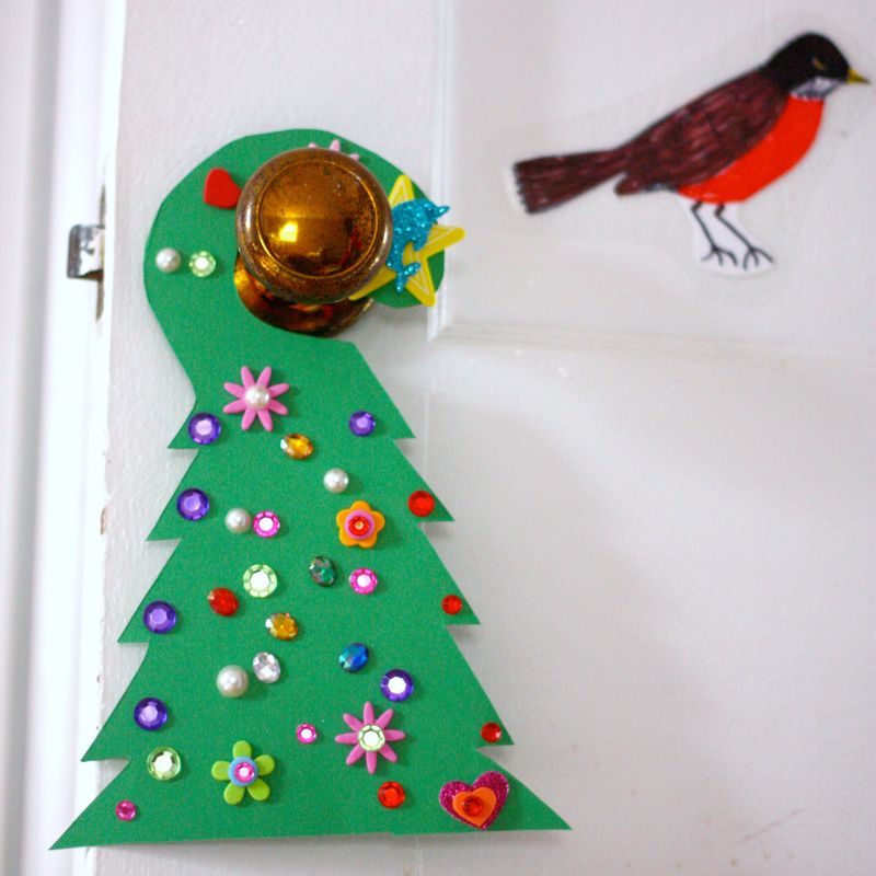 Green tree door hanger