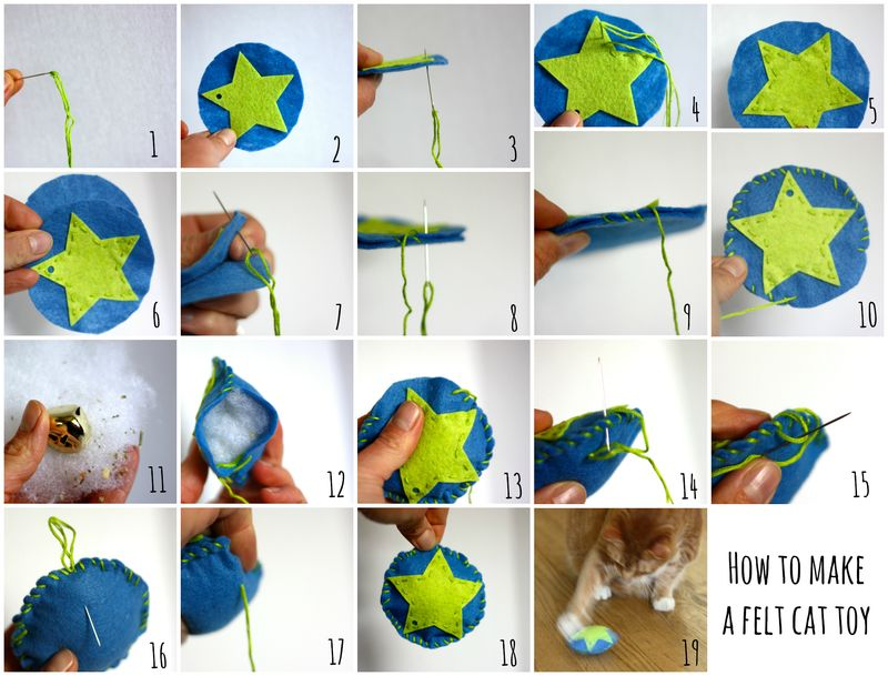Cat toy with numbers Collage