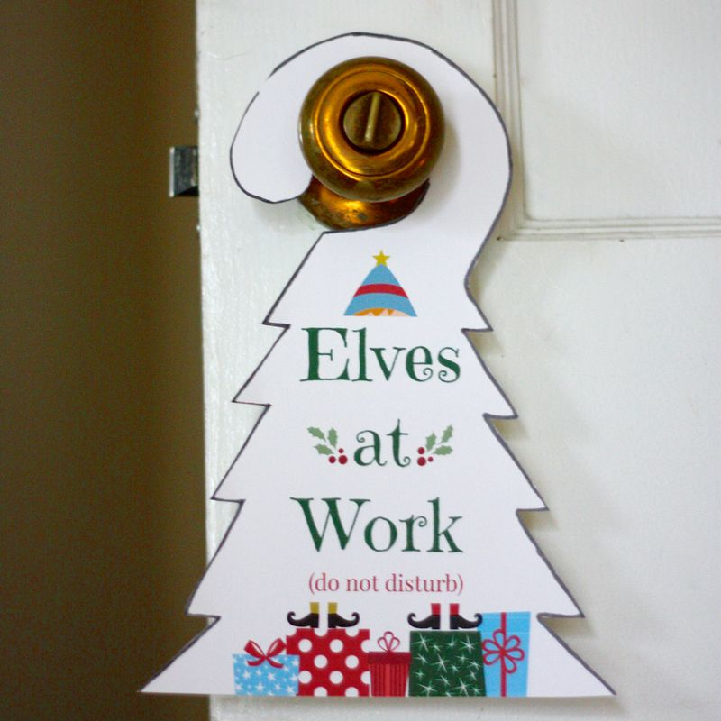 Elves at work door hanger