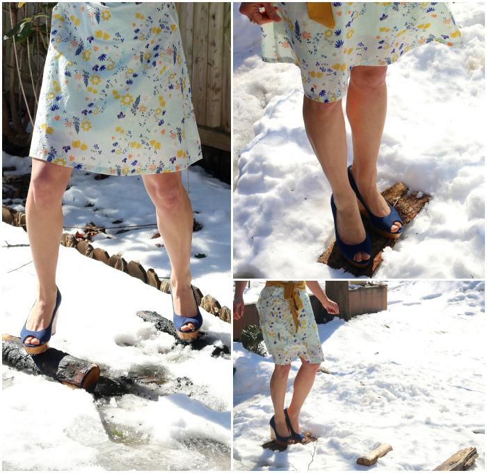 Heels in the snow